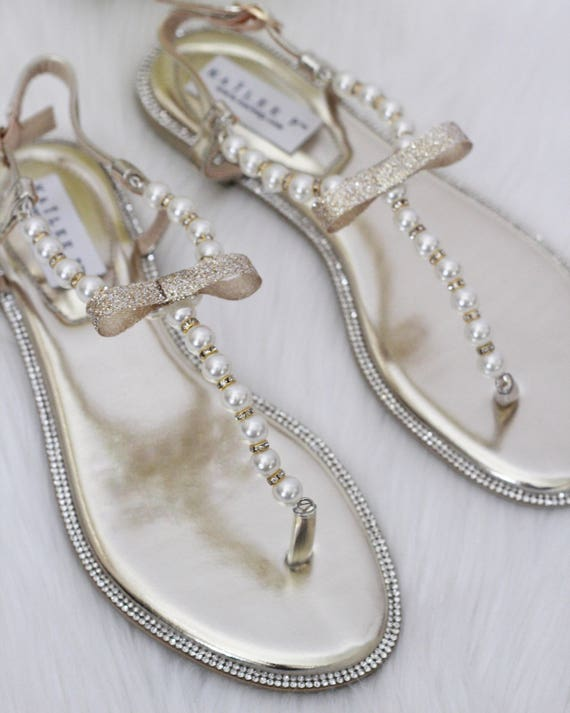 Women & Girls Wedding Pearl Sandals T Strap GOLD Pearl with Rhinestones flat sandal Wedding Sandals for brides and bridesmaids
