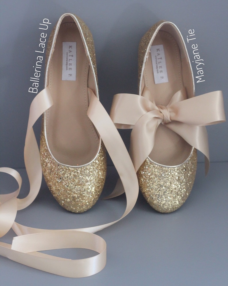 64334bbac283 GOLD ROCK GLITTER flats with satin bow tie Women Gold