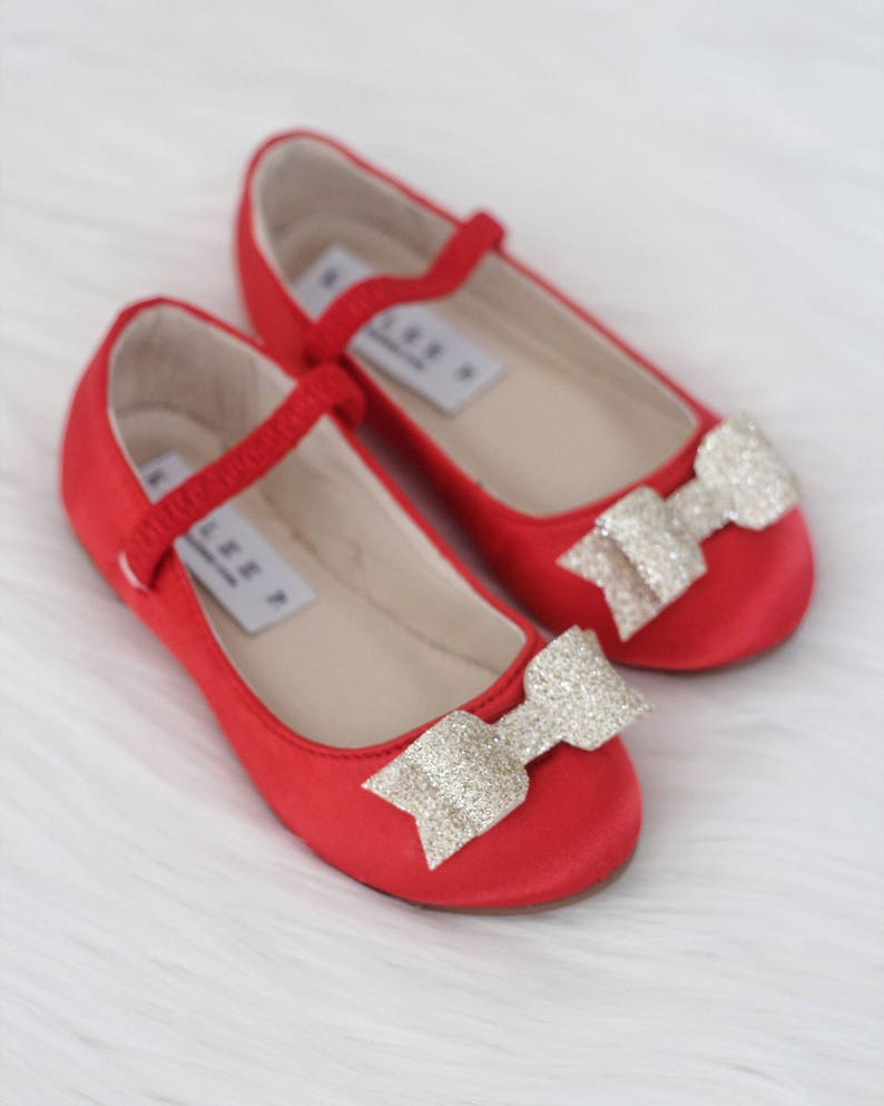 RED SATIN Maryjane shoes with GOLD Glitter tuxedo bow for