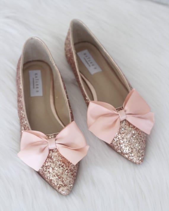 best website good texture best quality Women Wedding Shoes Bridesmaid Shoes ROSE GOLD Rock Glitter | Etsy