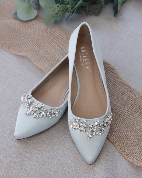 LIGHT BLUE Satin Pointy Toe flats with sparkly LEAVES rhinestones across the toe, Women Wedding Shoes, Bridesmaid Shoes, Something Blue