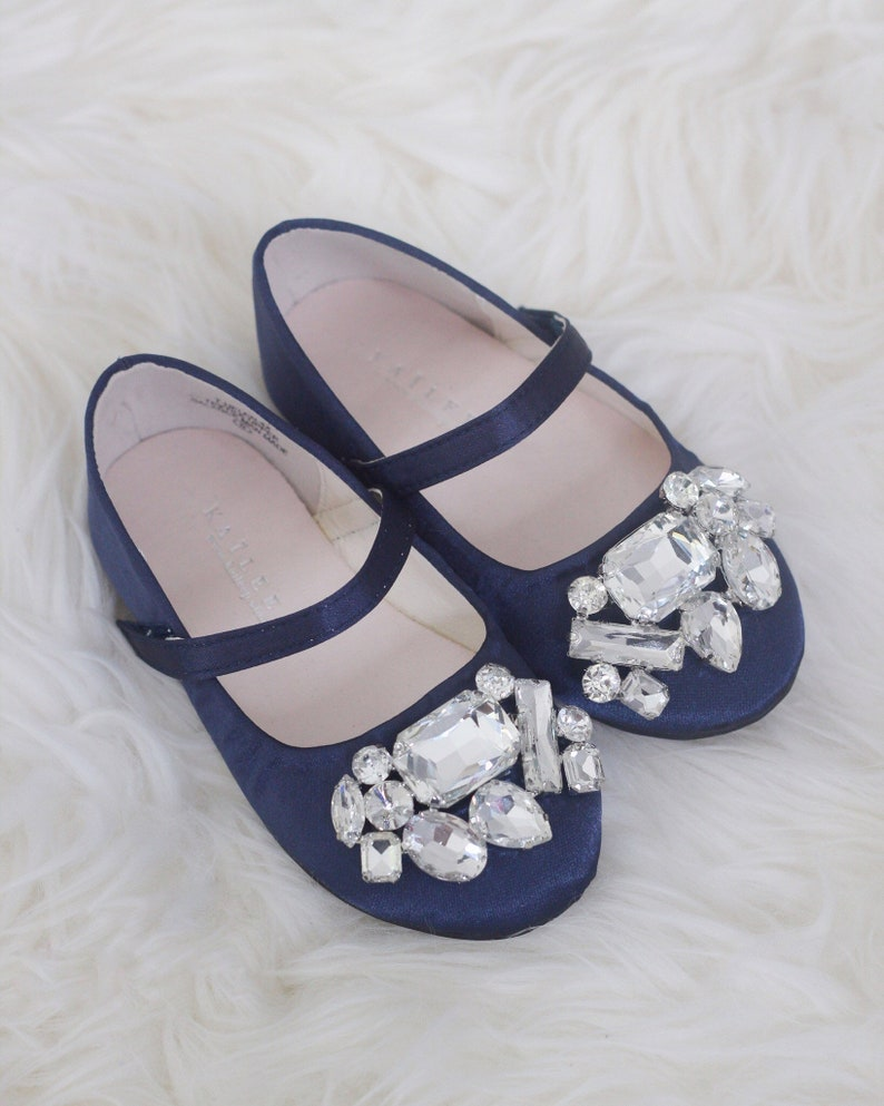 0cfb70f819a3 NAVY SATIN maryjane flats with Oversized BROOCH for