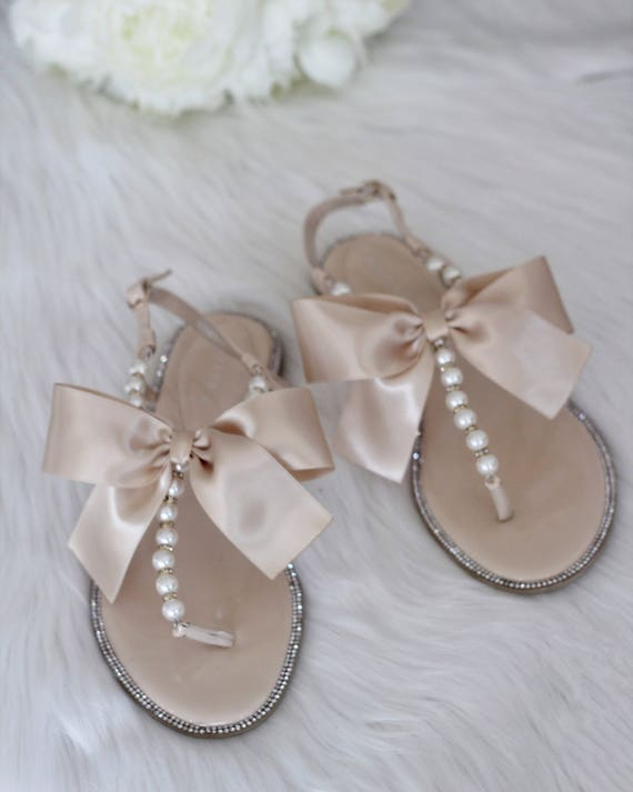 Women Pearls Wedding Sandals BEIGE Patent Pearl Rhinestones  9b07cbe4ee