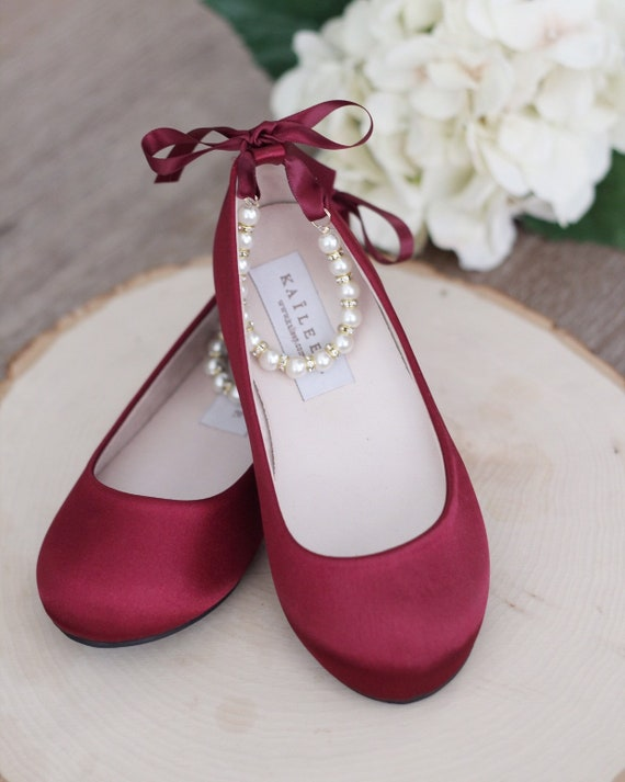 Women & Kids Shoes | WINE SATIN Flats with Pearls Ankle Strap Flower girls shoes, Burgundy Shoes, Women Wedding Shoes, Bridesmaids Shoes