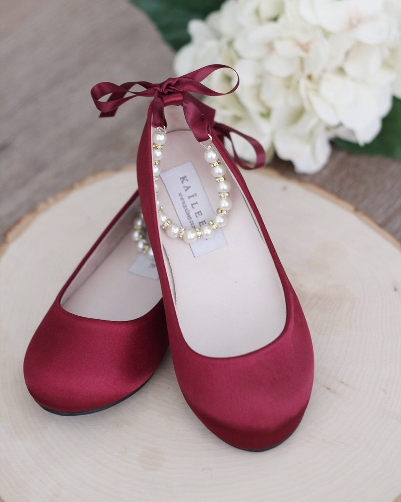 0f2ca591dad5a WINE Satin Flats with Pearls Ankle Strap - Satin flower girls shoes,  Burgundy Shoes, Dark Red Shoes