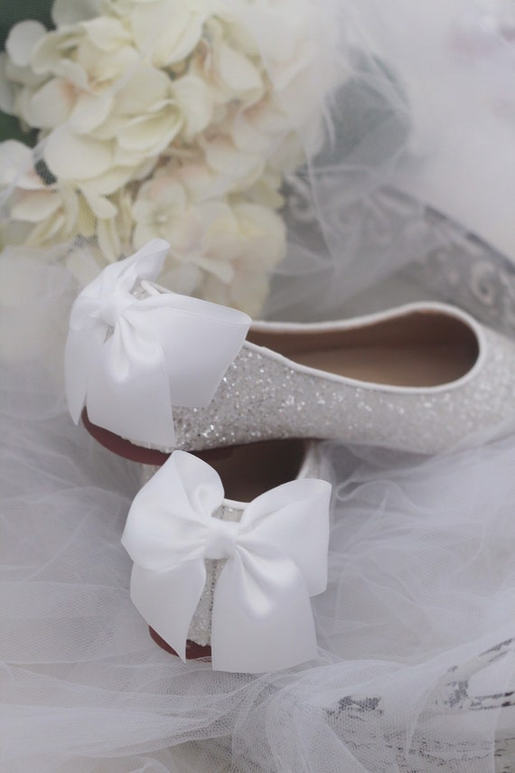 WHITE ROCK GLITTER Flats with Back Satin Bow Bridal Shoes  f72677058589