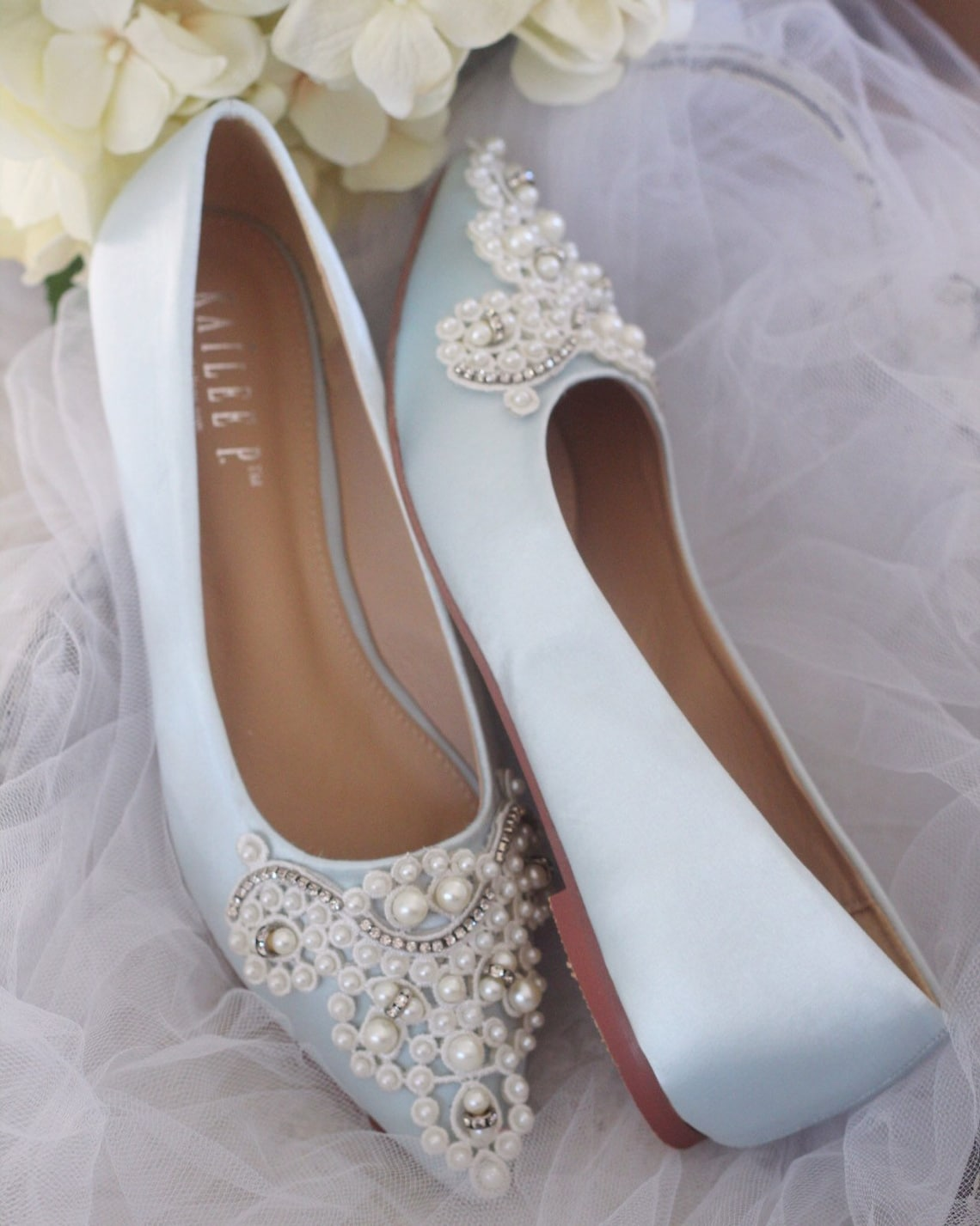 Light Blue Satin Pointy toe flats with OVERSIZED PEARLS APPLIQUE - Women Wedding Shoes, Bridesmaid Shoes, Something Blue