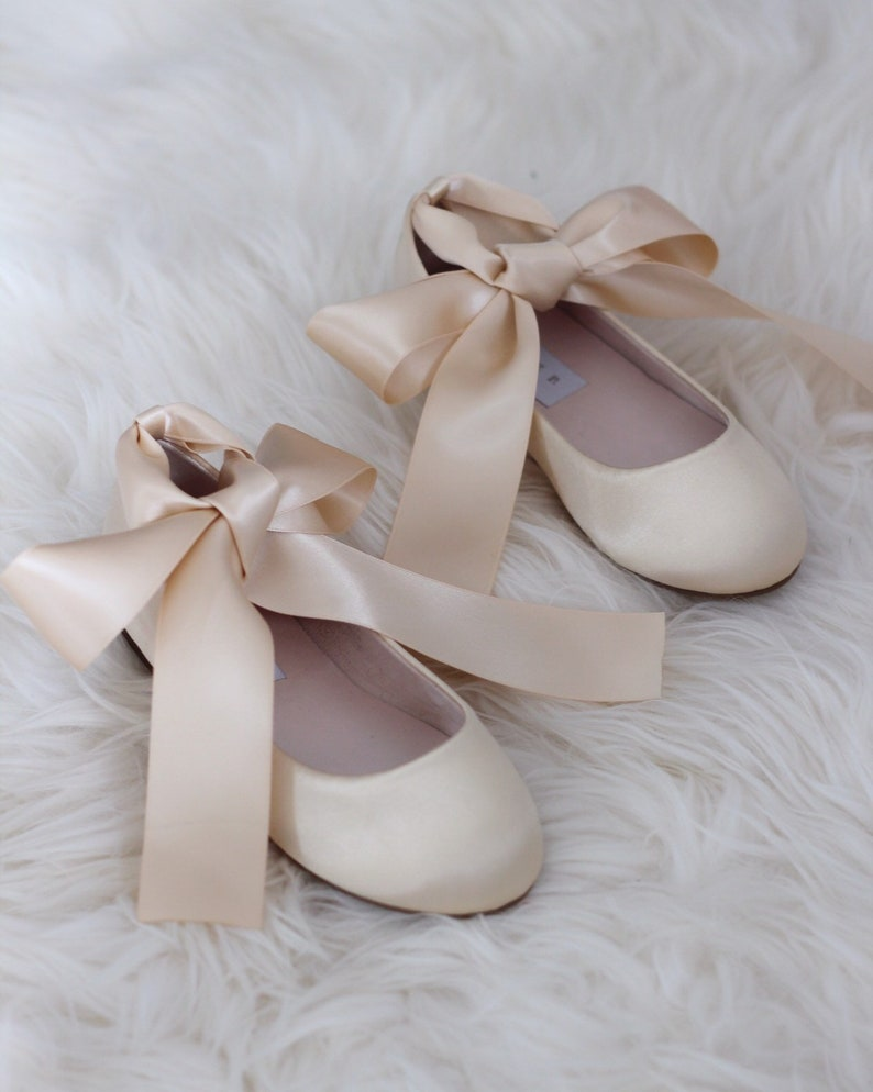 b26d7549248d3 CHAMPAGNE Satin Flats with Satin Ankle Strap - Satin flower girls shoes,  Gold Shoes for Girls, Dark Beige Shoes, Junior Bridesmaids Shoes