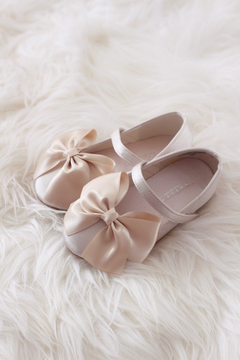 CHAMPAGNE Satin maryjane flats with satin ribbon bow for