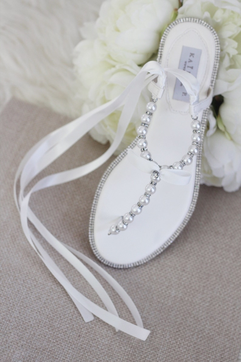8d6ba2f7c5189f Women and Girls Pearl Wedding Flat Sandals OFF WHITE