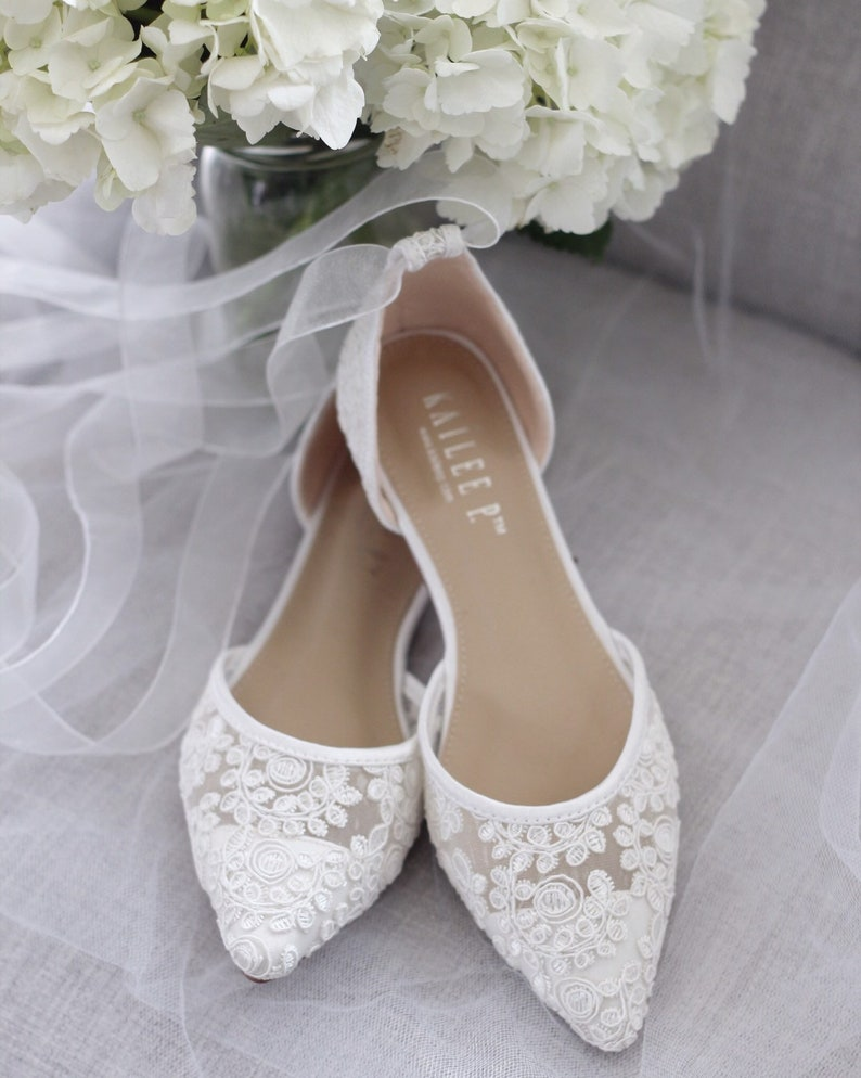 White Crochet Lace Pointy Toe Flats  Women Wedding Shoes SHEER RIBBON LACE UP