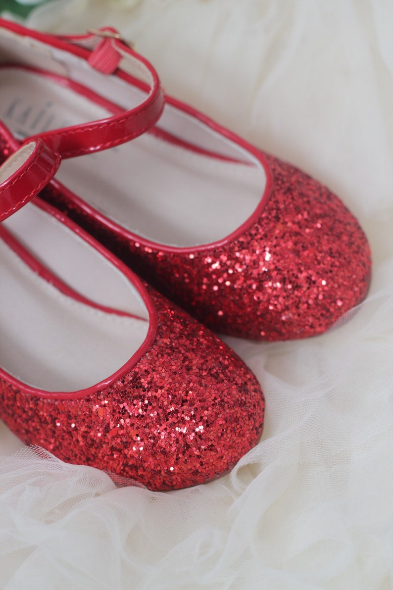 add16e7d84d RED ROCK GLITTER mary-jane heels with added satin bow - Flower Girl shoes  and Princess Shoes, Holiday Shoes, Red Shoes