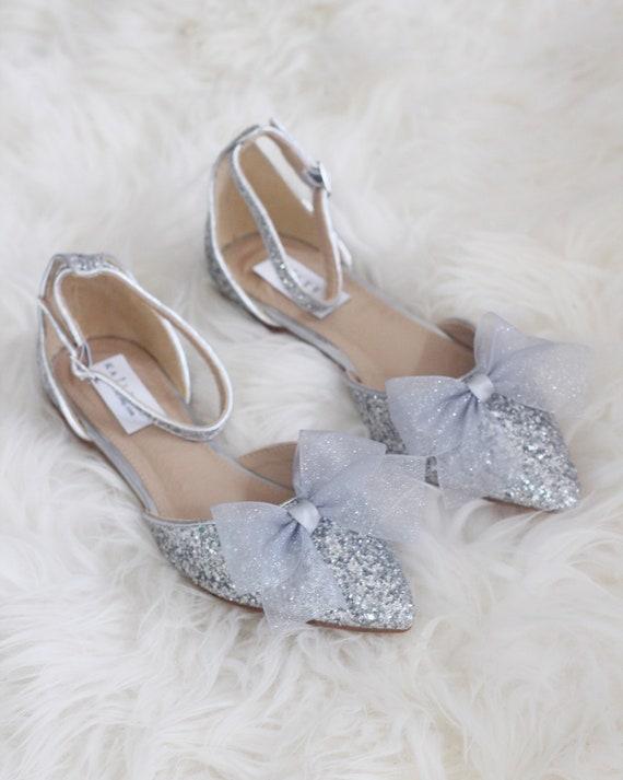 SILVER Rock Glitter Pointy Toe Flats
