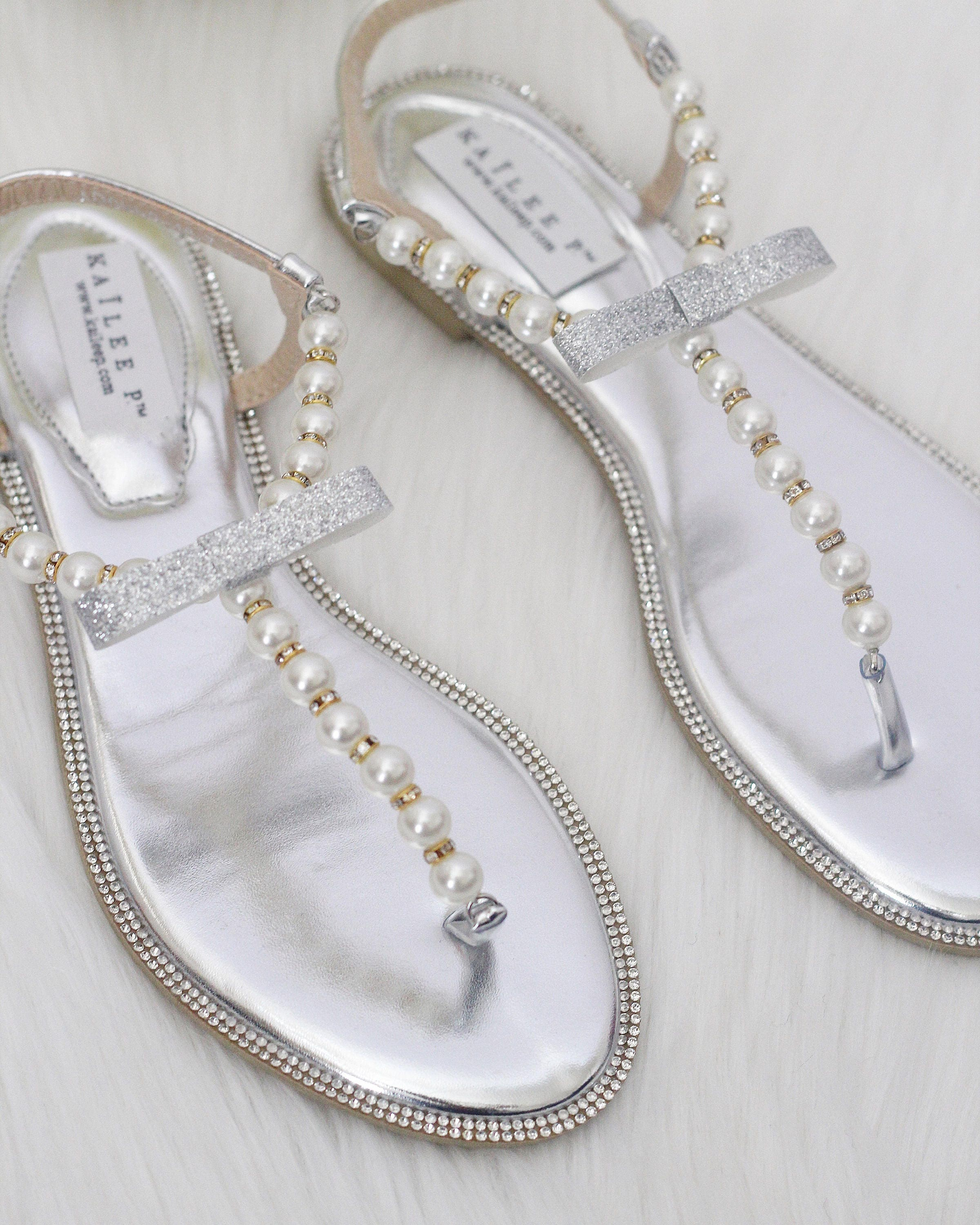53033f2b7d6 Women   Girls Wedding Pearl Sandals T-Strap SILVER Pearl