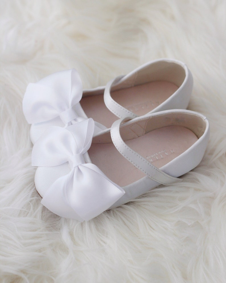 df434e2d2b3b WHITE Satin maryjane flats with satin ribbon bow perfect for