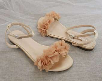 Champagne Satin Flat Sandal with CHIFFON FLOWERS, Bridesmaid Shoes, Women Sandals, Kids Heels, Mommy and Me Shoes
