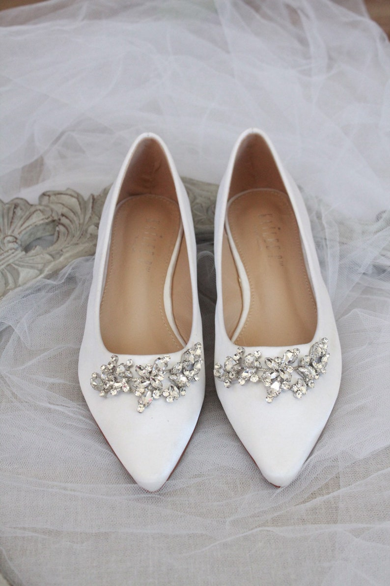 b6fbd75680e57 WHITE SATIN Pointy Toe flats with sparkly LEAVES rhinestones across the  toe, Women Wedding Shoes, Bridesmaid Shoes