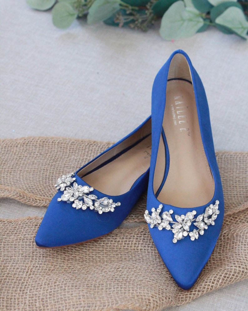 6d1df39762154 ROYAL BLUE Satin Pointy Toe flats with sparkly LEAVES rhinestones across  the toe, Women Wedding Shoes, Bridesmaid Shoes, Something Blue