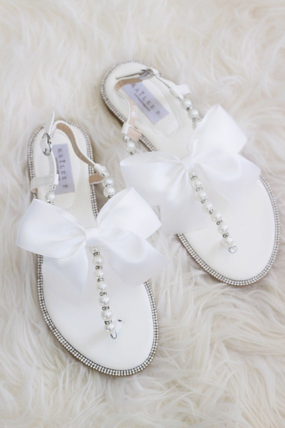 dec646c68be8d4 Women and Girls Sandals OFF WHITE with Pearls   SILVER Beads