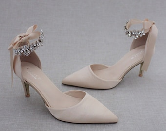 Champagne Satin Pointy Toe HEELS with FLORAL RHINESTONES Ankle Strap, Wedding Shoes, Bridesmaids Shoes, Evening Shoes, Holiday Shoes
