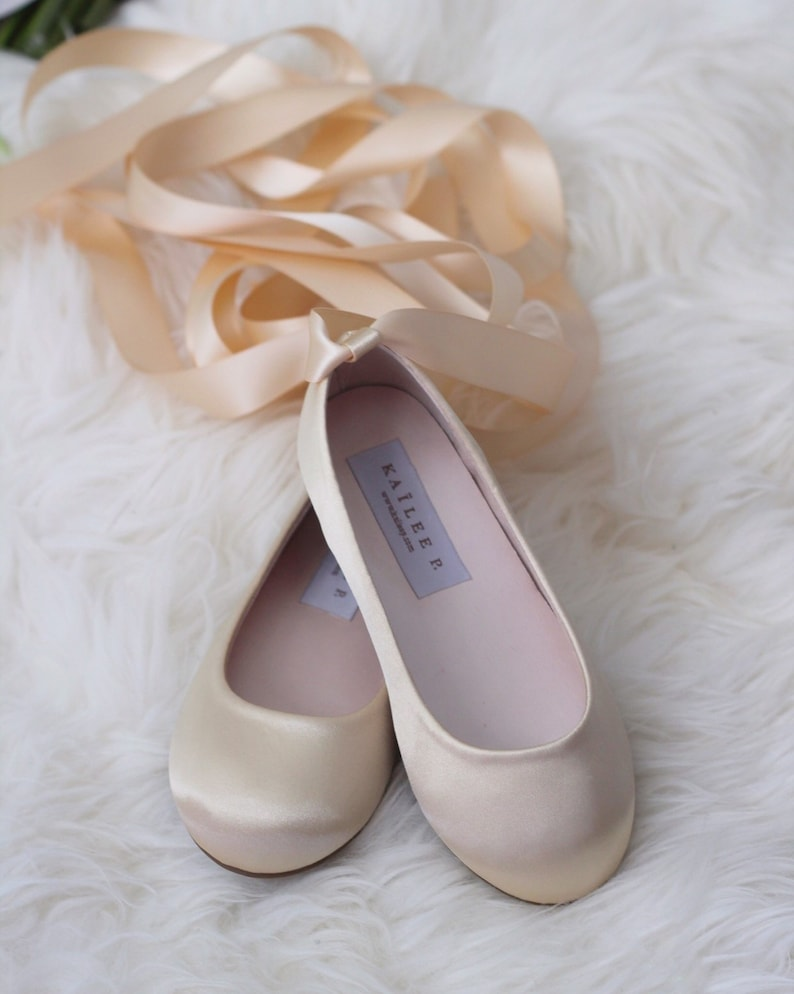 CHAMPAGNE SATIN BALLERINA Lace Up Flats flower girls shoes