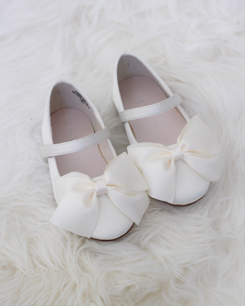 cdbbbd03c55b IVORY Satin maryjane flats with satin ribbon bow perfect for