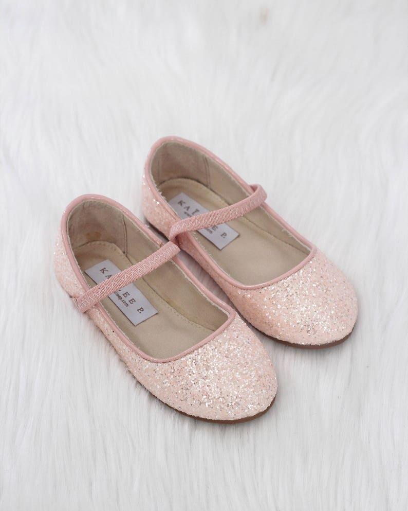 8019ab25770f04 DUSTY PINK Rock Glitter Maryjane Flats for Flower Girls Shoes