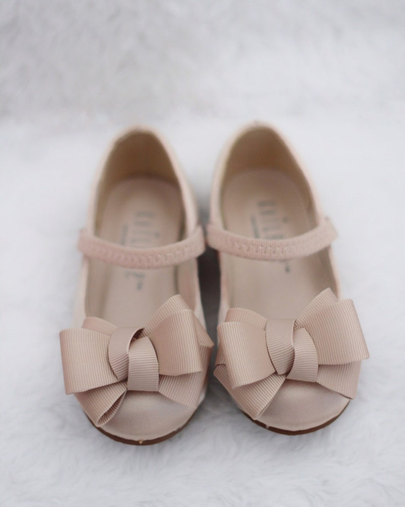 854cd9955d395 CHAMPAGNE Satin Maryjane with GROSGRAIN BOW for flower girl shoes, Girls  Toddler Shoes, Gold Satin Shoes, Beige Shoes
