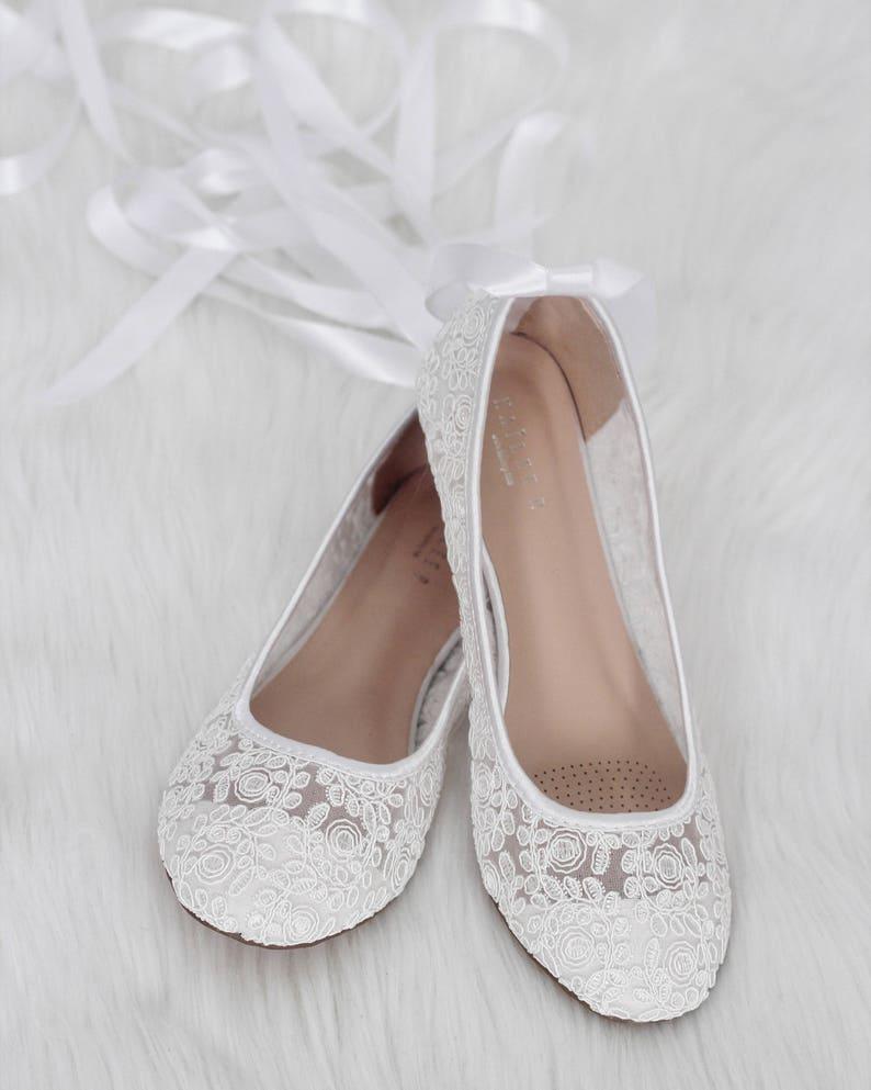 a6c101108 Women Wedding Shoes WHITE LACE round toe BALLERINA Lace up | Etsy