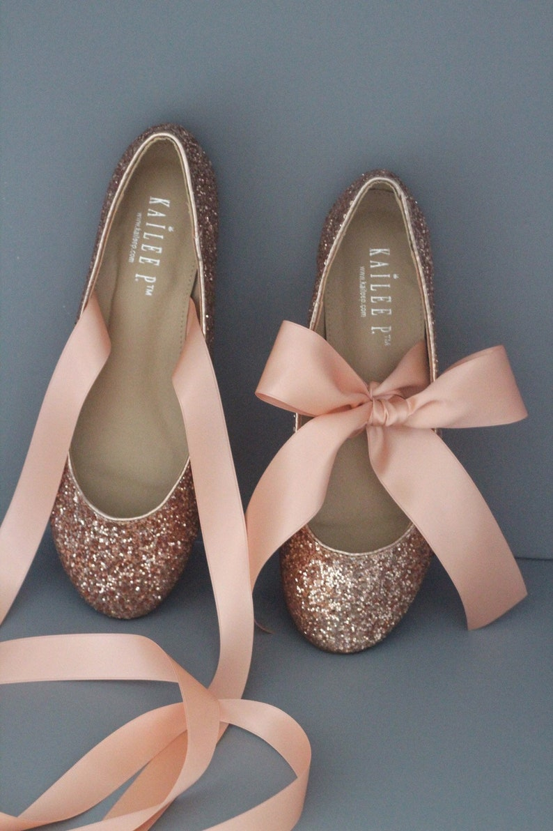 b446458fc170e ROSE GOLD ROCK Glitter flats with satin bow tie Women Gold