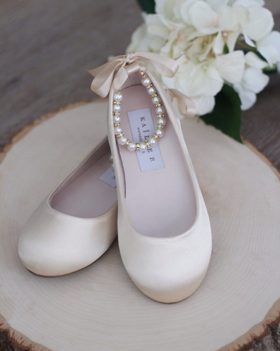 CHAMPAGNE SATIN Flats with Pearls Ankle