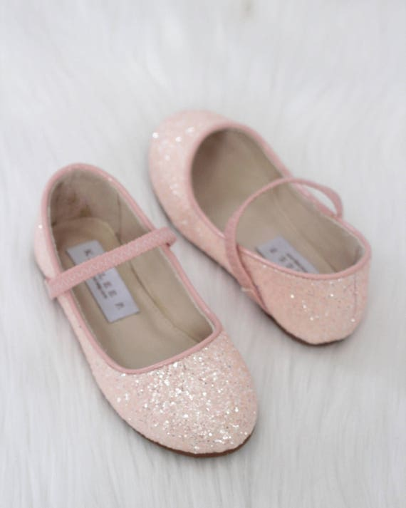 Girls shoes dusty pink rock glitter mary jane flats flower etsy image 0 mightylinksfo