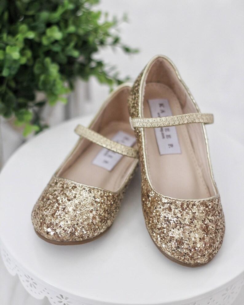 GOLD ROCK GLITTER Maryjane Flats for Flower Girls Shoes Girls image 0