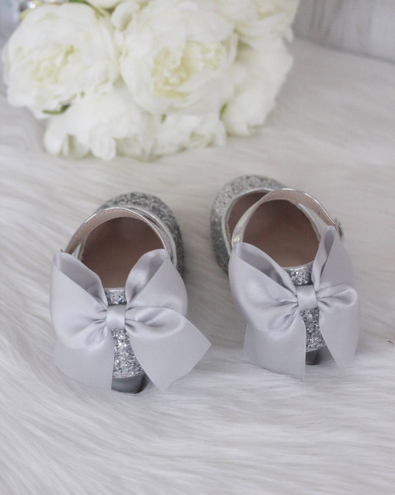 a1831a96ccd15 Girls Heels Shoes - SILVER Rock Glitter mary-jane heels with added satin  bow - Flower Girl shoes, Party shoes, Princess Shoes
