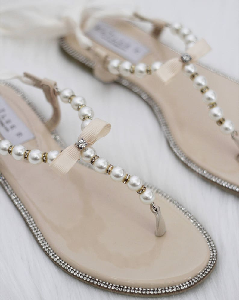 cb72141cfe7cd7 Pearl Wedding Sandals T-Strap BEIGE Pearl with Rhinestones