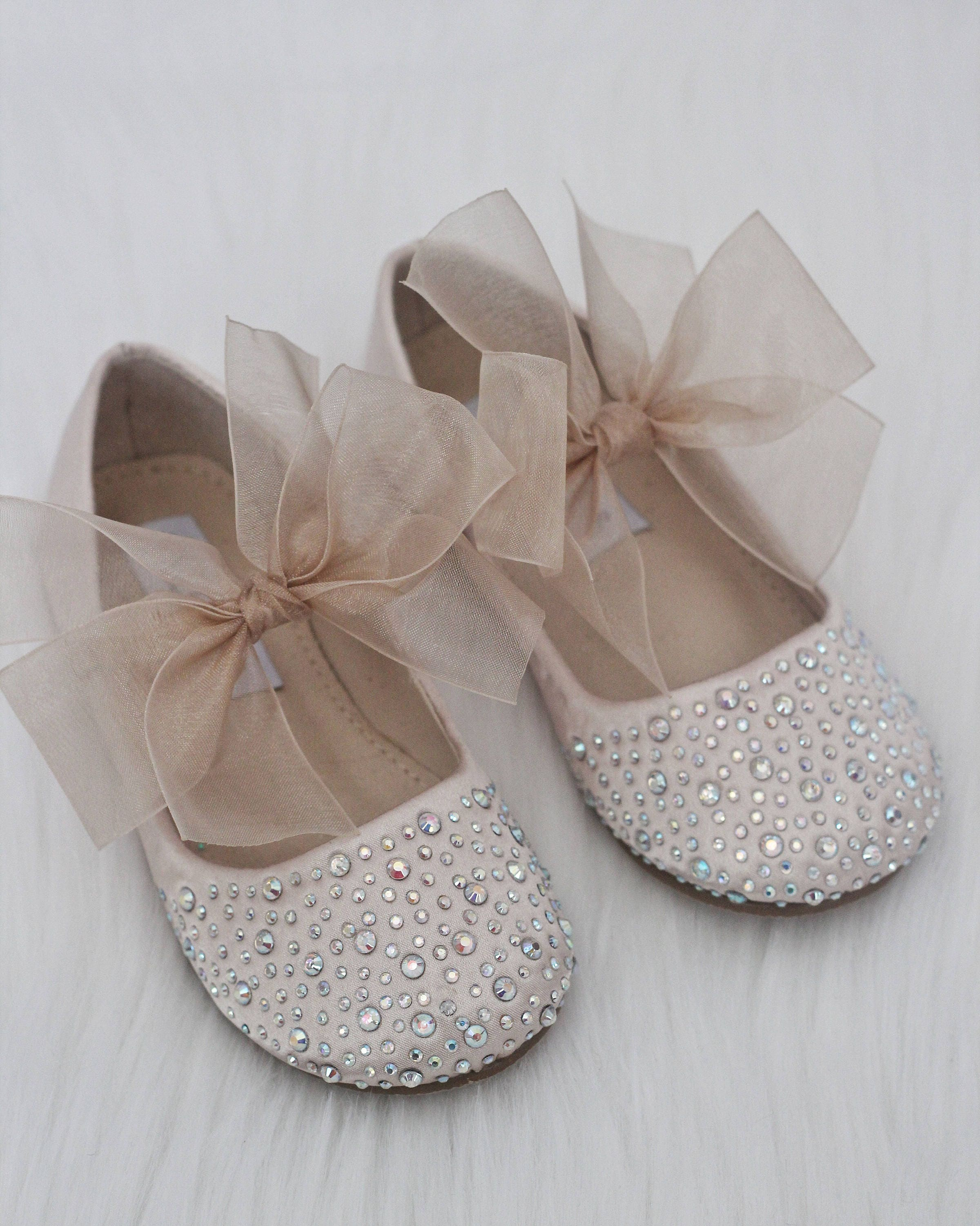 GIRLS SHOES CHAMPAGNE Satin With Rhinestone ballet flats with