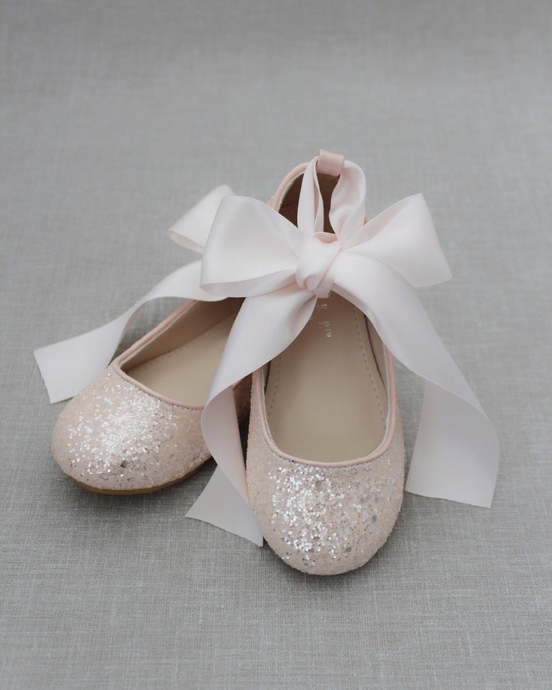 Infant and Toddler Shoes Flower girl shoes DUSTY PINK rock glitter ballet flats with Satin Ankle Tie or Ballerina Lace Up Girls Shoes