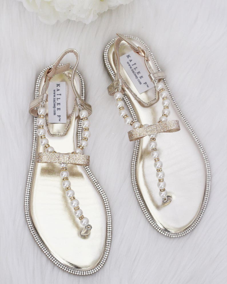 eeda57f134d54 Women   Girls Wedding Pearl Sandals T-Strap GOLD Pearl with