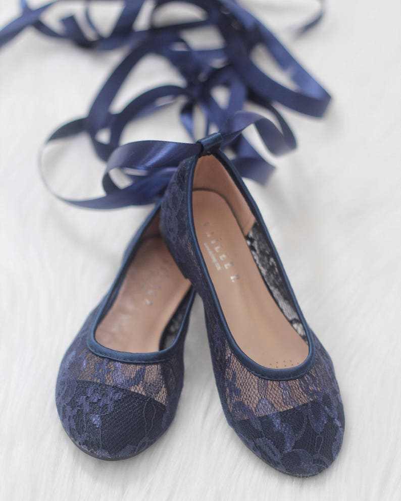Girls Shoes Flower Girl Shoes NAVY LACE up Ballerina Flats