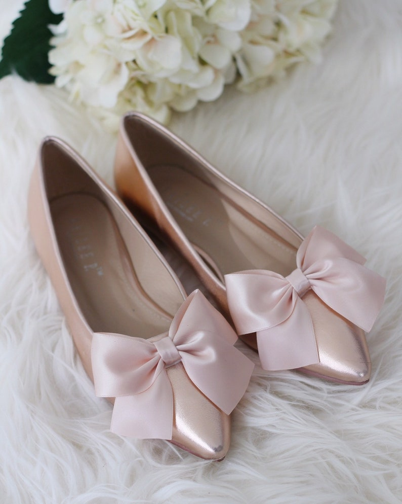 f66541882f14 ROSE GOLD Metallic Pointy toe flats with satin BOW Women