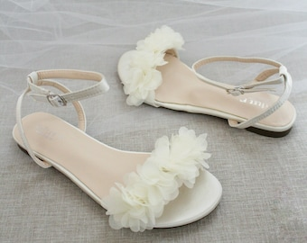Ivory Satin Flat Sandal with CHIFFON FLOWERS, Bridesmaid Shoes, Women Sandals, Kids Heels, Mommy and Me Shoes