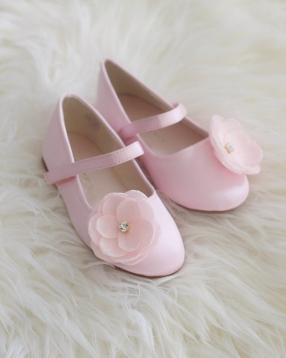 Girls Pink Satin Shoes Maryjane Flats With Silk Flower Etsy
