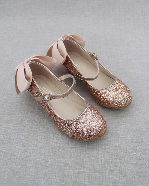 Girls Heel Glitter Shoes ROSE GOLD Rock