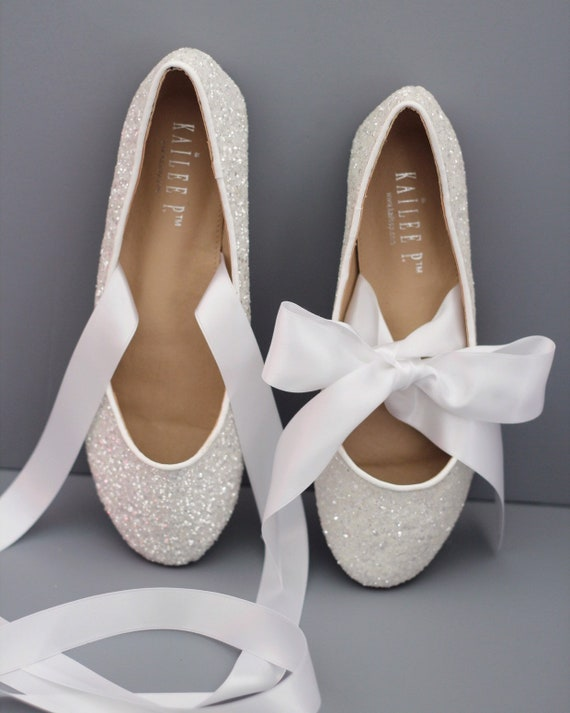 b7371a274a58 WHITE ROCK GLITTER flats with satin bow tie Women White   Etsy