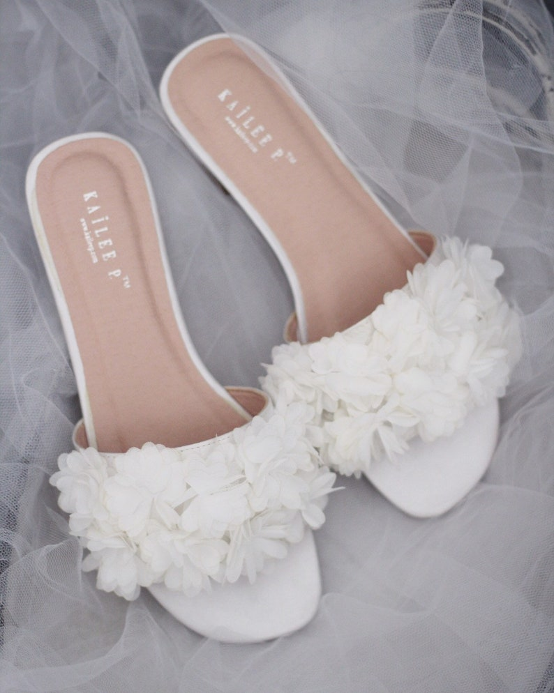 31682b6042b IVORY SATIN Slide Sandals with allover Chiffon Flowers
