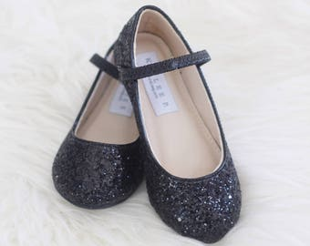 Infant Girl Shoes, Toddler Shoes, Little Kids and Big Kids Shoes- BLACK ROCK glitter mary-jane flats - Flower Girls Shoes