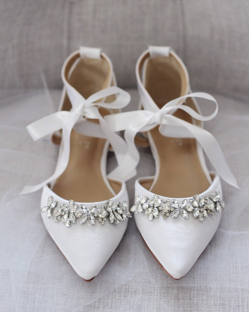 9d2449adea7aa WHITE SATIN Pointy Toe flats with sparkly rhinestones across the toe with  satin ankle tie, Women Wedding Shoes, Bridesmaid Shoes, Something
