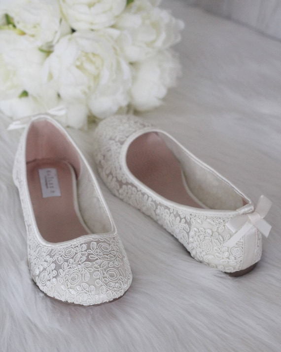 Ivory Crochet Lace Flats with BACK