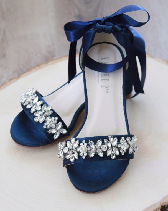 NAVY SATIN Block Heel Sandals with Embellished Strap, Girls Sandals, Flower Girls Shoes, Jr.Bridesmaid Shoes