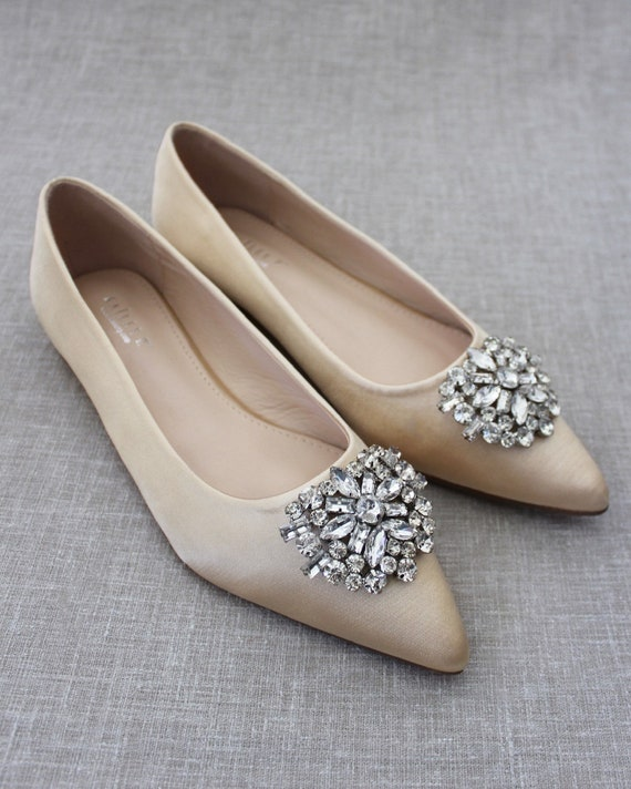 Womens Pointed Toe Wedding Shoes Flat Rhinestone Pearl Shoes Slip On Loafers